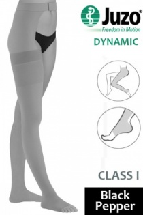Juzo Dynamic Class 1 Black Pepper Thigh High Compression Stockings with Open Toe and Waist Attachment