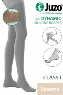 Juzo Dynamic Class 1 Sesame Thigh High Compression Stockings with Silicone Border