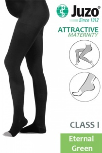 Juzo Attractive Class 1  Eternal Green Maternity Compression Tights with Open Toe