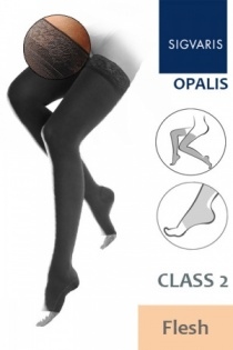 Sigvaris Opalis Thigh Class 2 Flesh Compression Stockings with Open Toe