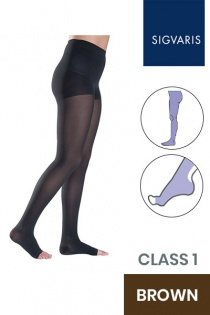 Sigvaris Style Semitransparent Class 1 Brown Compression Tights with Open Toe