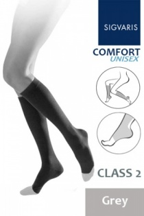 Sigvaris Unisex Comfort Class 2 Grey Calf Compression Stockings with Open Toe