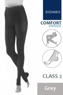 Sigvaris Unisex Comfort Class 2 Grey Compression Tights with Open Toe