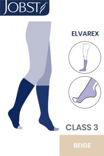 Jobst Elvarex Class 3 Beige Knee High Compression Stockings with Open Toe
