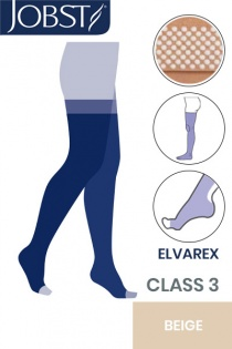 Jobst Elvarex Class 3 Beige Thigh High Compression Stockings with Open Toe and Dotted Silicone Band