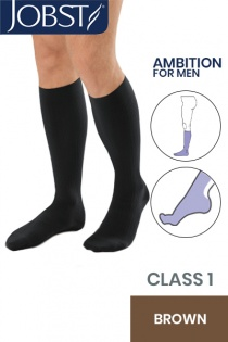 Jobst for Men Ambition Class 1 Brown Below Knee Compression Stockings