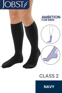 Jobst for Men Ambition Class 2 Navy Below Knee Compression Stockings
