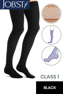 Jobst Opaque Class 1 Black Thigh High Compression Stockings with Dotted Silicone Band