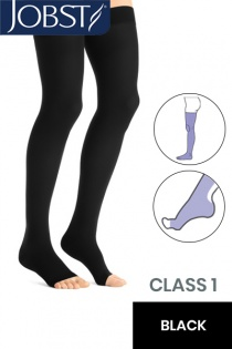 Jobst Opaque Class 1 Black Thigh High Compression Stockings with Open Toe