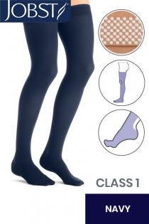 Jobst Opaque Class 1 Navy Thigh High Compression Stockings with Dotted Silicone Band