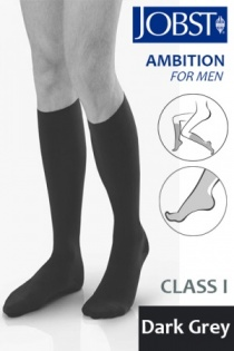 Jobst for Men Ambition Class 1 Dark Grey Below Knee Compression Stockings