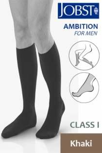 Jobst for Men Ambition Class 1 Khaki Below Knee Compression Stockings
