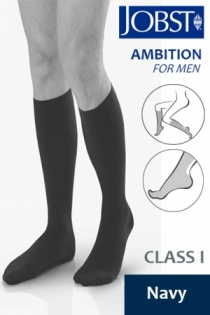 Jobst For Men Ambition Class 1 Navy Below Knee Compression Stockings