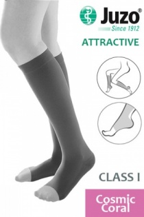 Juzo Attractive Class 1 Cosmic Coral Below Knee Compression Stockings with Open Toe