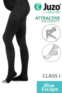 Juzo Attractive Class 1 Blue Escape Maternity Compression Tights with Open Toe