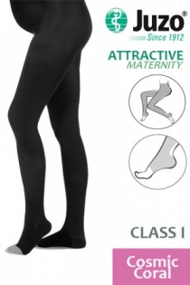Juzo Attractive Class 1 Cosmic Coral Maternity Compression Tights with Open Toe