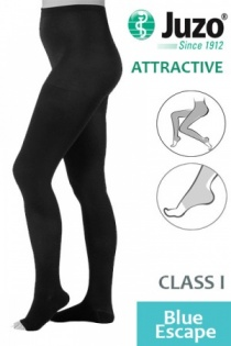 Juzo Attractive Class 1 Blue Escape Compression Tights with Open Toe