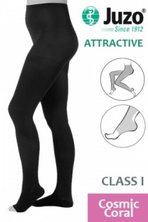 Juzo Attractive Class 1 Cosmic Coral Compression Tights with Open Toe