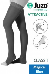 Juzo Attractive Class 1 Magical Blue Thigh High Compression Stockings with Open Toe
