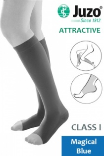 Juzo Attractive Class 1 Magical Blue Below Knee Compression Stockings with Open Toe