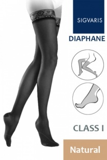 Sigvaris Diaphane Class 1 Natural Thigh Compression Stockings