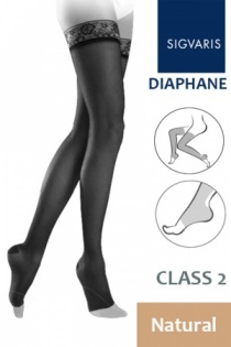 Sigvaris Diaphane Class 2 Natural Thigh Compression Stockings with Open Toe