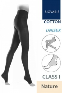 Sigvaris Cotton Class 1 Nature Tights with Open Toe