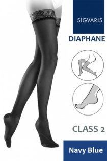 Sigvaris Diaphane Class 2 Navy Blue Thigh Compression Stockings