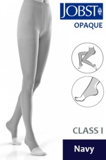 Jobst Opaque Class 1 Navy Compression Tights with Open Toe