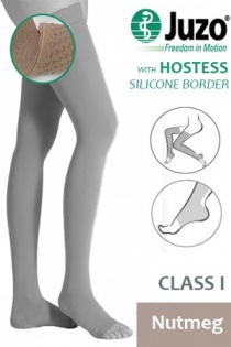 Juzo Hostess Class 1 Nutmeg Thigh High Compression Stockings with Open Toe and Silicone Border