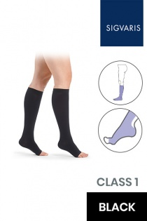 Sigvaris Essential Comfortable Unisex Class 1 Knee High Black Compression Stockings with Open Toe
