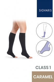 Sigvaris Essential Comfortable Unisex Class 1 Knee High Caramel Compression Stockings with Open Toe