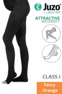Juzo Attractive Class 1 Fancy Orange Maternity Compression Tights with Open Toe