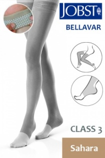 Jobst Bellavar Class 3 Sahara Thigh High Compression Stockings with Open Toe and Dotted Silicone Band