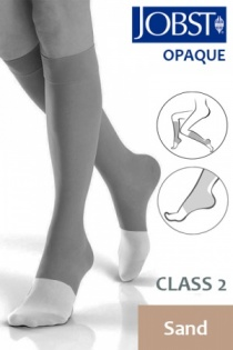 Jobst Opaque Class 2 Sand Knee High Compression Stockings with Open Toe