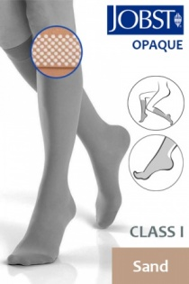 Jobst Opaque Class 1 Sand Knee High Compression Stockings with Dotted Silicone Band