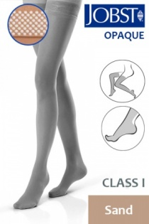 Jobst Opaque Class 1 Sand Thigh High Compression Stockings with Dotted Silicone Band