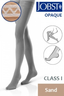 Jobst Opaque Class 1 Sand Thigh High Compression Stockings with Lace Silicone Band