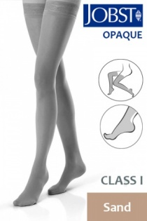 Jobst Opaque Class 1 Sand Thigh High Compression Stockings