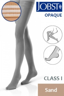 Jobst Opaque Class 1 Sand Thigh High Compression Stockings with Soft Silicone Band