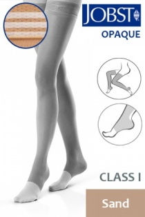 Jobst Opaque Class 1 Sand Thigh High Compression Stockings with Open Toe and Soft Silicone Band