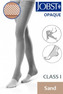 Jobst Opaque Class 1 Sand Thigh High Compression Stockings with Open Toe and Dotted Silicone Band