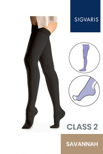 Sigvaris Essential Comfortable Unisex Class 2 Savannah Compression Tights with Open Toe
