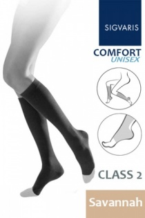 Sigvaris Unisex Comfort Class 2 Savannah Calf Compression Stockings with Open Toe