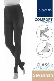 Sigvaris Unisex Comfort Class 2 Savannah Bodyform Compression Tights with Open Toe