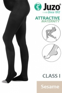 Juzo Attractive Class 1 Sesame Maternity Compression Tights with Open Toe