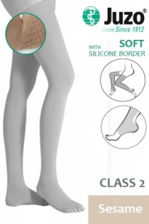 Juzo Soft Class 2 Sesame Thigh Compression Stockings with Open Toe and Silicone Border