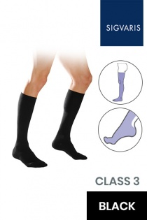 Sigvaris Essential Coton Men's Class 3 Thigh High Black Compression Stockings