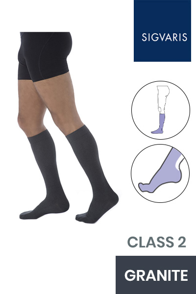 Sigvaris Essential Coton Men's Class 2 Knee High Granite Compression Stockings