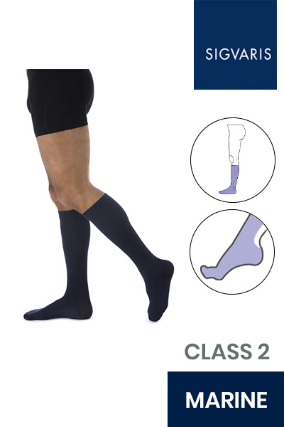 Sigvaris Essential Coton Men's Class 2 Knee High Marine Compression Stockings